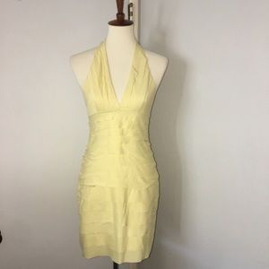 BCBG Pale yellow tiered halter dress